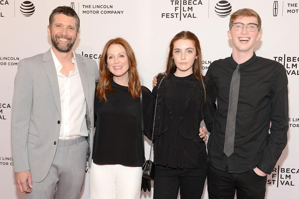 "Julianne Moore, Bart Freundlich and children Liv and Caleb Freundlich attend the premiere of ""Wolves"" at the Tribeca Film Festival in New York City in 2016. (Photo: Noam Galai via Getty Images)"
