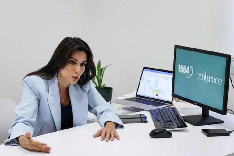 Mia Atoui, cofounder and vice president of Embrace, an NGO which runs a suicide-prevention hotline in Lebanon, says a lot of people have lost hope (AFP/ANWAR AMRO)