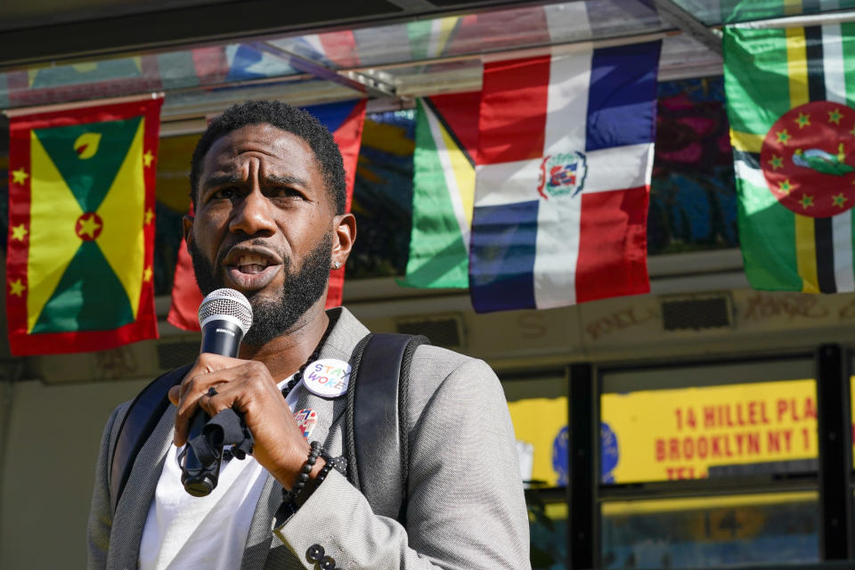 New York City Public Advocate Jumaane Williams speaks at a voter registration event in the Flatbush neighborhood of the Brooklyn borough of New York, Wednesday, Sept. 29, 2021. (AP Photo/Mary Altaffer)