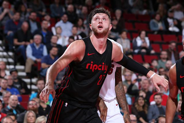 "<a class=""link rapid-noclick-resp"" href=""/nba/players/5327/"" data-ylk=""slk:Jusuf Nurkic"">Jusuf Nurkic</a> averaged 14.3 points, nine rebounds and 1.8 assists per game last season. (Getty Images)"