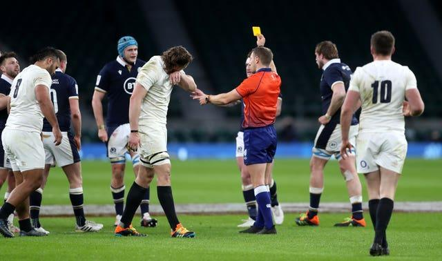 Billy Vunipola, left, is shown a yellow card by referee Andrew Brace