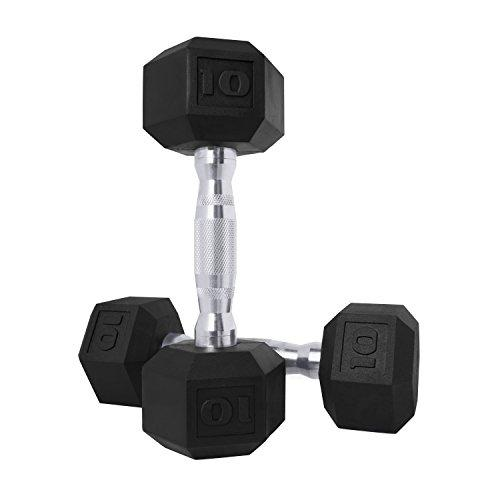 CAP Barbell SDPP-020 Color Coated Hex Dumbbell, Black, 10 pound, Pair