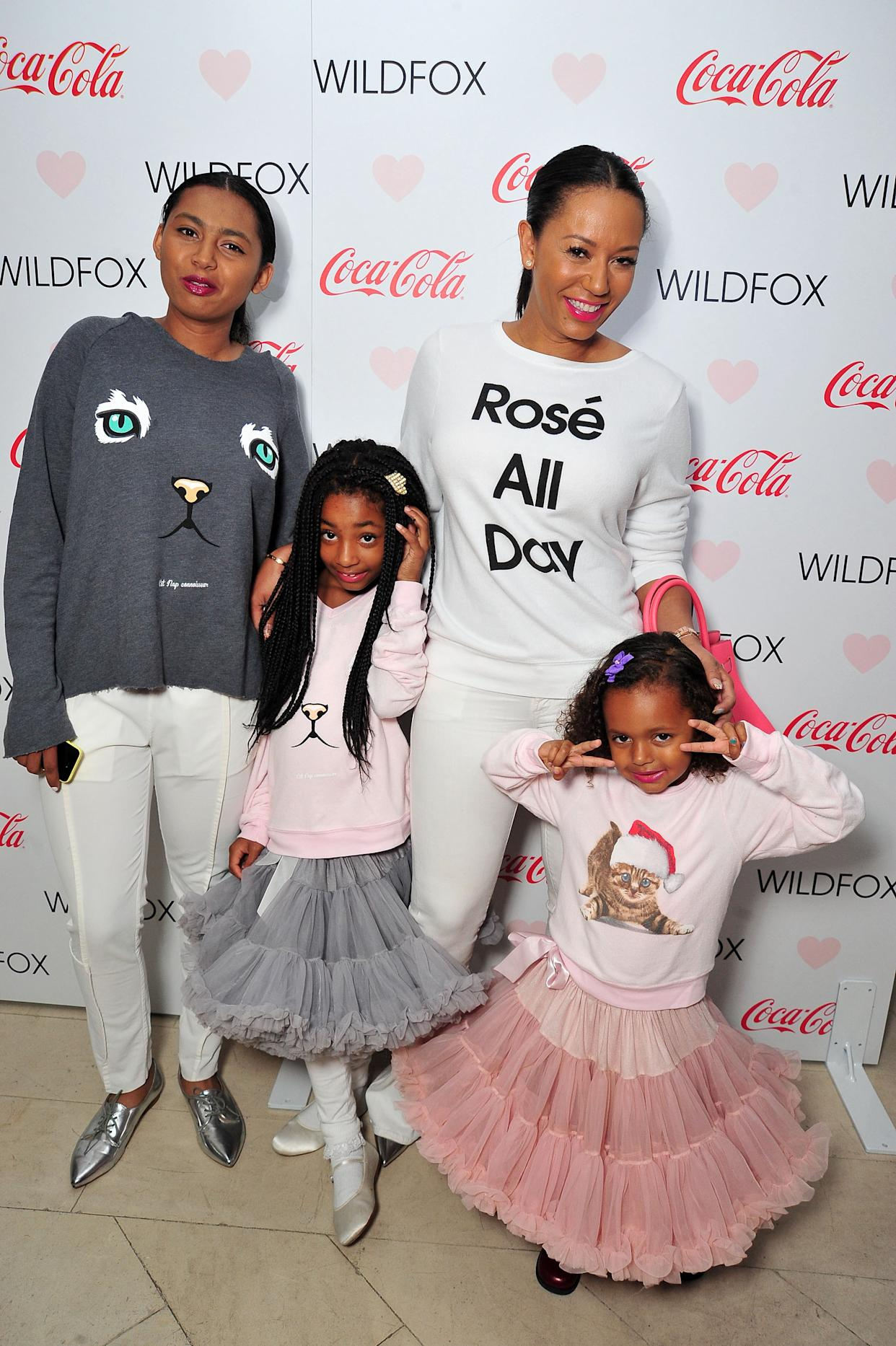 WEST HOLLYWOOD, CA - OCTOBER 22: (L-R) Phoenix Chi Gulzar, Angel Brown, Mel B and Madison Brown Belafonte attend the Launch Party for WILDFOX Loves Coca-Cola Capsule Collection on October 22, 2015 in West Hollywood, California.  (Photo by Jerod Harris/Getty Images for Coca-Cola)