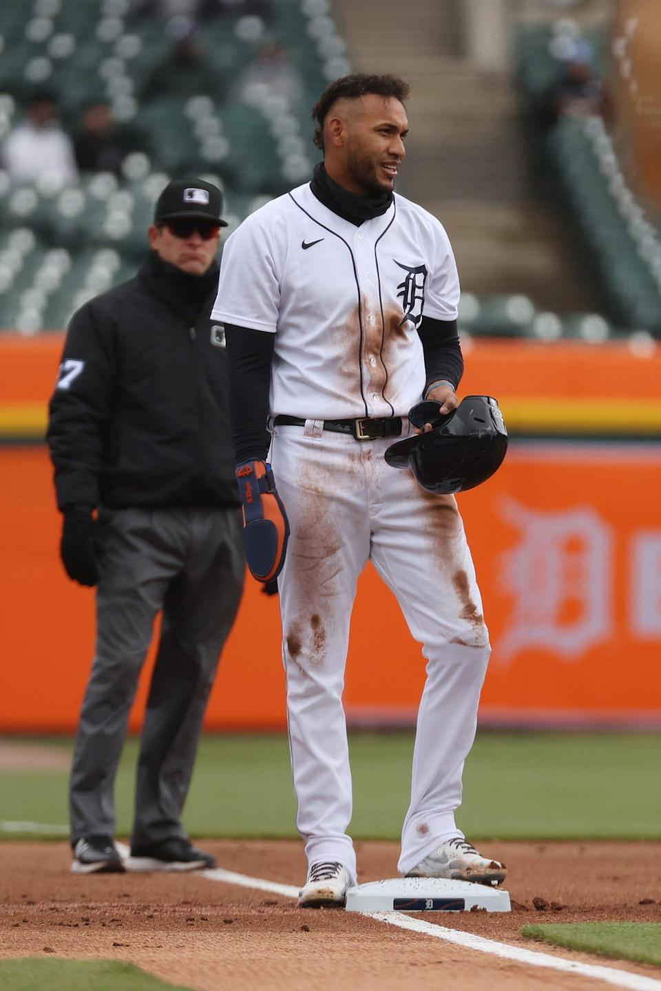 Victor Reyes of the Detroit Tigers after stealing third base against the Pittsburgh Pirates at Comerica Park during game one of a doubleheader on April 21, 2021 in Detroit, Michigan.