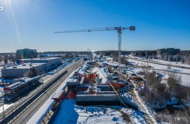 On March 2, 2021, councillors on the finance and economic development committee were shown this image of construction underway at South Keys Station, where the Trillium Line will have a transfer point for a spur line to the Ottawa airport.