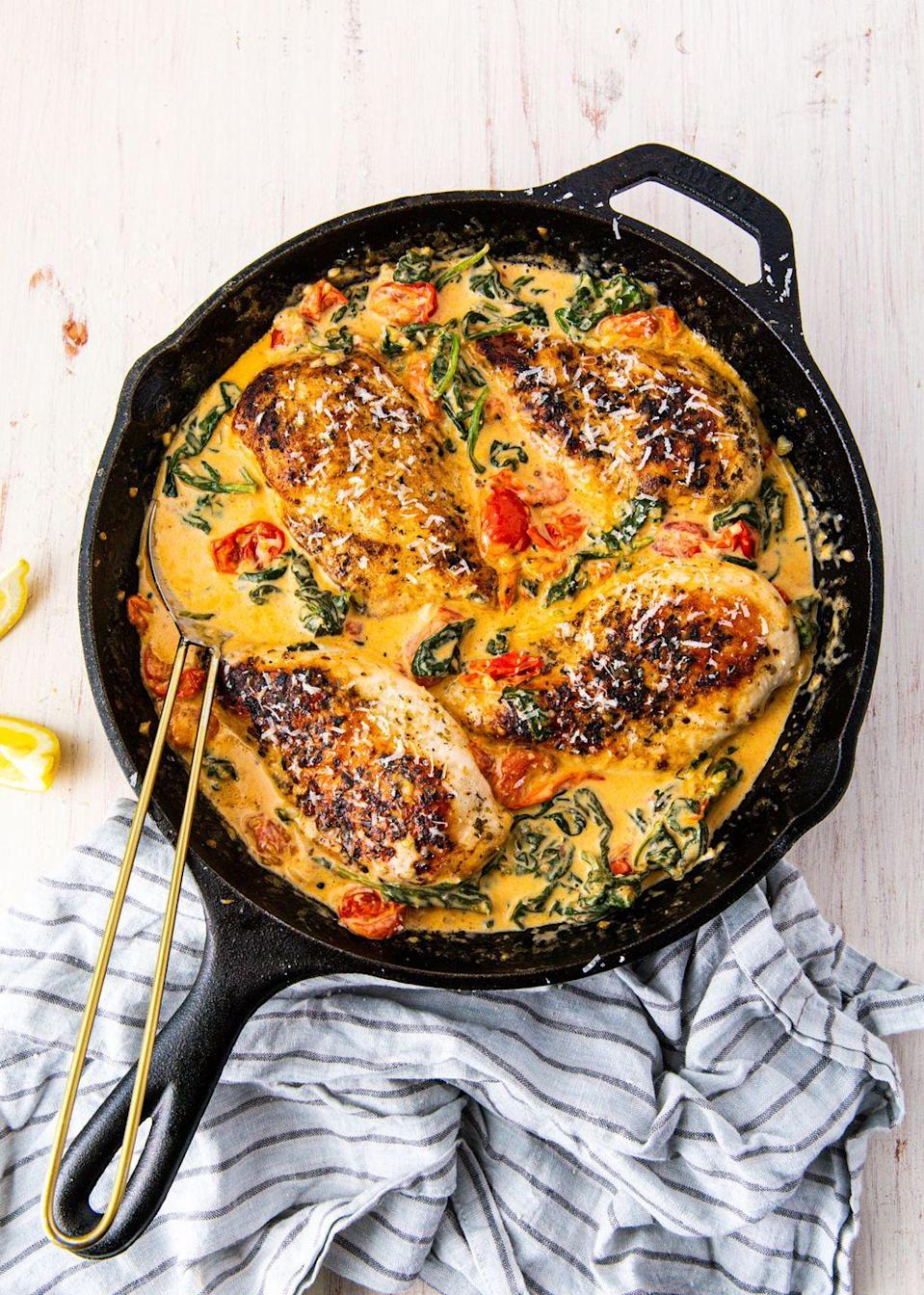 """<p>Be sure to have some crusty bread on hand, because this sauce is killer.</p><p>Get the recipe from <a href=""""https://www.delish.com/cooking/recipe-ideas/a19636089/creamy-tuscan-chicken-recipe/"""" rel=""""nofollow noopener"""" target=""""_blank"""" data-ylk=""""slk:Delish"""" class=""""link rapid-noclick-resp"""">Delish</a>.</p>"""