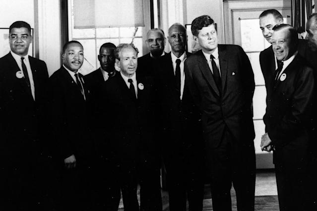 <p>President John F. Kennedy and Vice President Lyndon Baines Johnson meet with leaders of the March on Washington, including the Rev. Martin Luther King Jr., at the Oval Office in the White House in Washington, Aug. 28, 1963. (Photo: Abbie Rowe/National Park Service/John Fitzgerald Kennedy Library and Museum) </p>