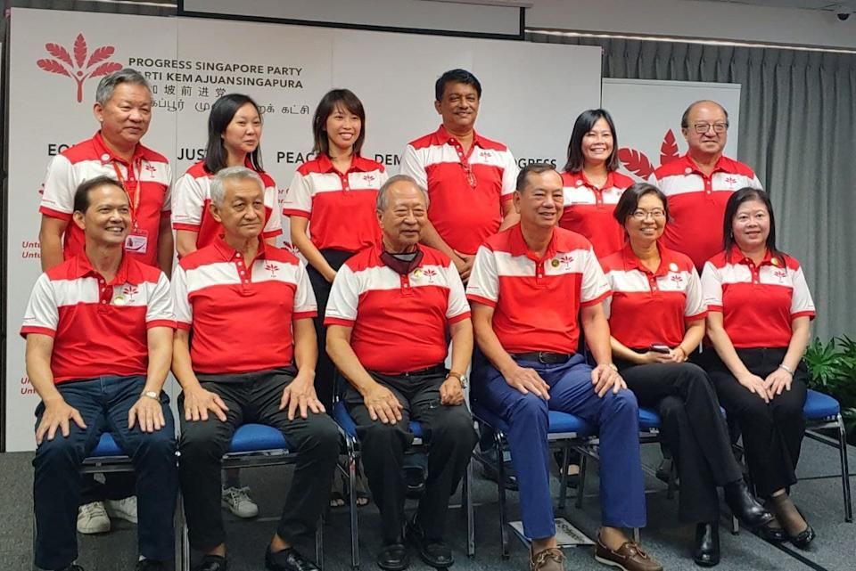 PSP leader Dr Tan Cheng Bock (front row, third from left) with members of the party's new central executive committee. (PHOTO: Progress Singapore Party / Facebook)