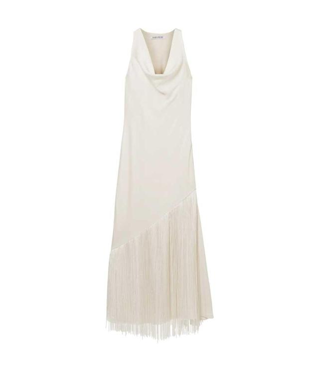 White cowl-neck fringe dress. (Photo: Elizabeth & James/Net-a-Porter)