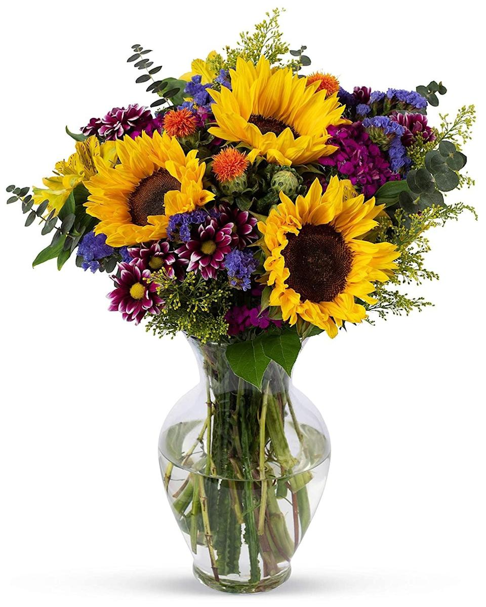 <p>Brighten someones day with these <span>Benchmark Bouquets Flowering Fields, With Vase</span> ($35).</p>