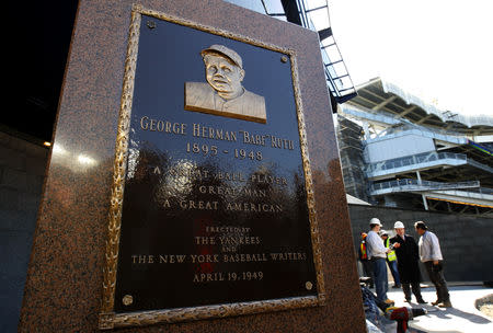 New York Yankees legend Babe Ruth stands in its place in the