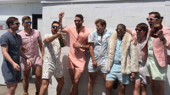 "<p></p><p>The romper has always been a logistical bathroom nightmare for women but a new Kickstarter called <a rel=""nofollow"" href=""https://www.kickstarter.com/projects/106904571/the-romphimtm-your-new-favorite-summer-outfit"">Romphim</a> (cringe) has decided to make the problematic summer style available to dudes too. They're available in red chambray, blue chambray and splatter print cotton and will be shipped out in August. <em>(Photo: Romphim)</em> </p><p></p>"
