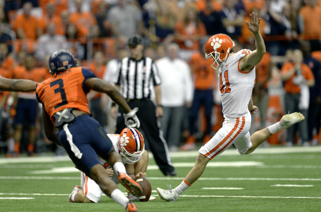 """Clemson kicker <a class=""""link rapid-noclick-resp"""" href=""""/ncaaf/players/240153/"""" data-ylk=""""slk:Alex Spence"""">Alex Spence</a> (41) winds up for a field goal attempt during the second half of an NCAA college football game against Syracuse, Friday, Oct. 13, 2017, in Syracuse, N.Y. Syracuse upset Clemson 27-24. (AP Photo/Adrian Kraus)"""