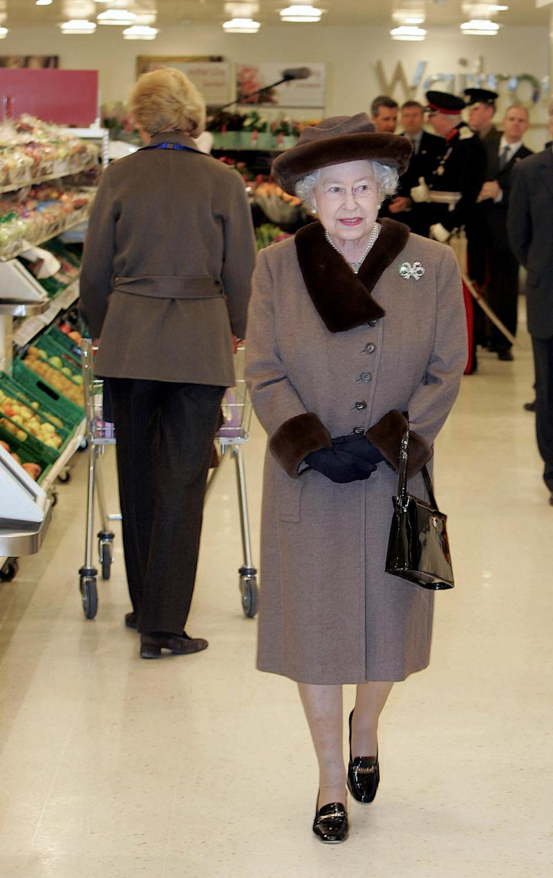 Queen Elizabeth II inside Waitrose at the opening of King Edward Court Shopping Centre in Windsor, England, February 2008.