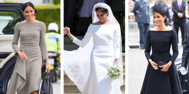 Meghan Markle wearing boatneck dresses (left to right) on a trip to Ireland, at her wedding, and an Air Force event in London.