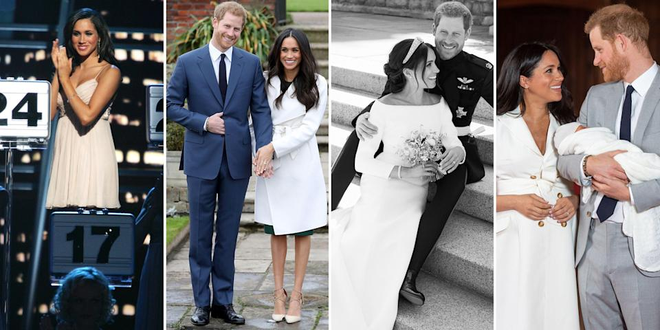 <p>Before making history with her marriage to Prince Harry and subsequent induction into the British royal family, Meghan Markle was an American actress who starred in the popular legal drama <em>Suits</em>. Here, we gathered all the photos that represent Meghan's transition from a Los Angeles native pursuing an acting career to a duchess socializing with Great Britain's upper crust. </p>