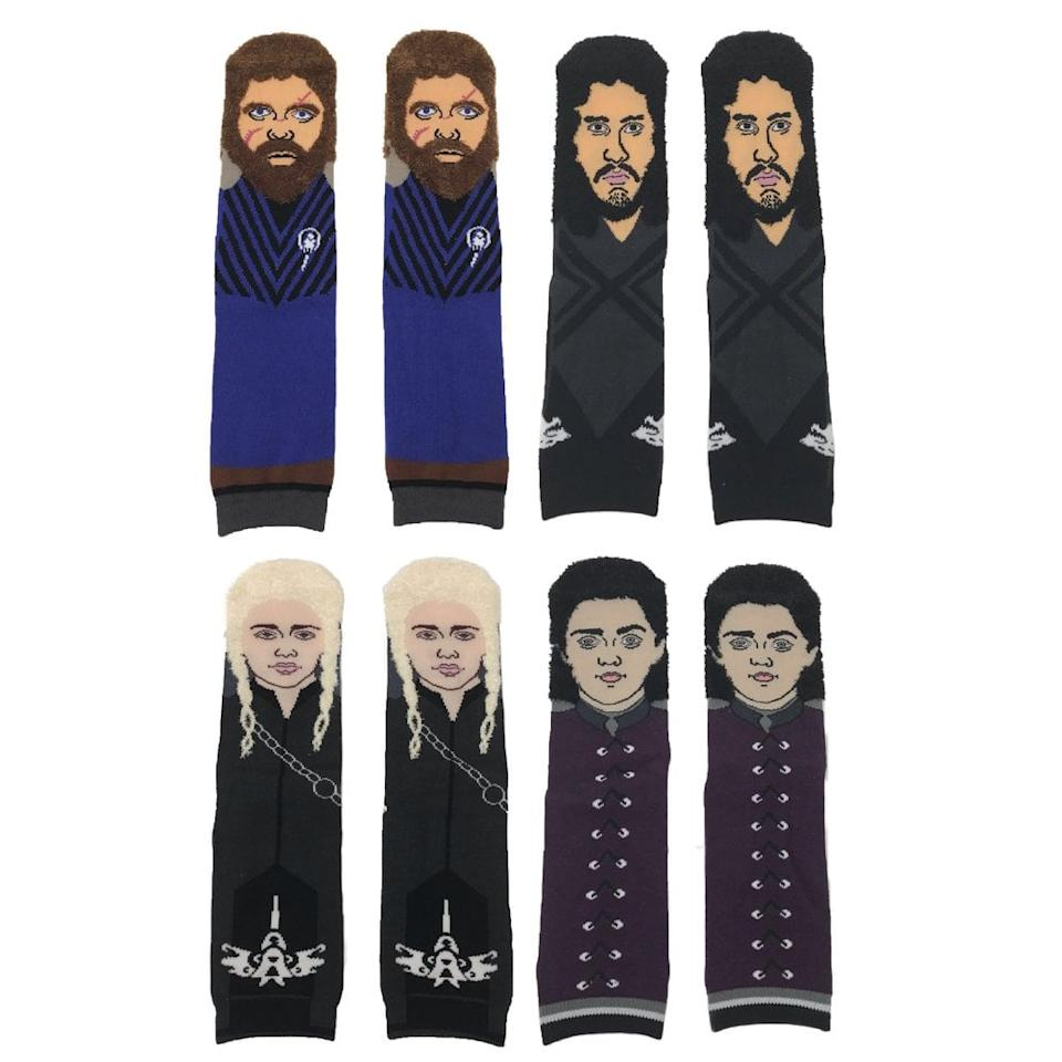 "<p>These <a href=""https://www.popsugar.com/buy/Game%20of%20Thrones%20Watch%20Party%20Socks-430215?p_name=Game%20of%20Thrones%20Watch%20Party%20Socks&retailer=trollsocks.com&price=68&evar1=buzz%3Aus&evar9=43852792&evar98=https%3A%2F%2Fwww.popsugar.com%2Fentertainment%2Fphoto-gallery%2F43852792%2Fimage%2F46010489%2FGame-Thrones-Watch-Party-Socks&prop13=mobile&pdata=1"" rel=""nofollow"" data-shoppable-link=""1"" target=""_blank"">Game of Thrones Watch Party Socks</a> ($68, originally $80) are brilliant.</p>"