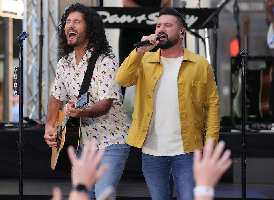 <p>Dan Smyers and Shay Mooney of Dan + Shay perform on <em>Today</em> at Rockefeller Plaza on July 16 in N.Y.C.</p>