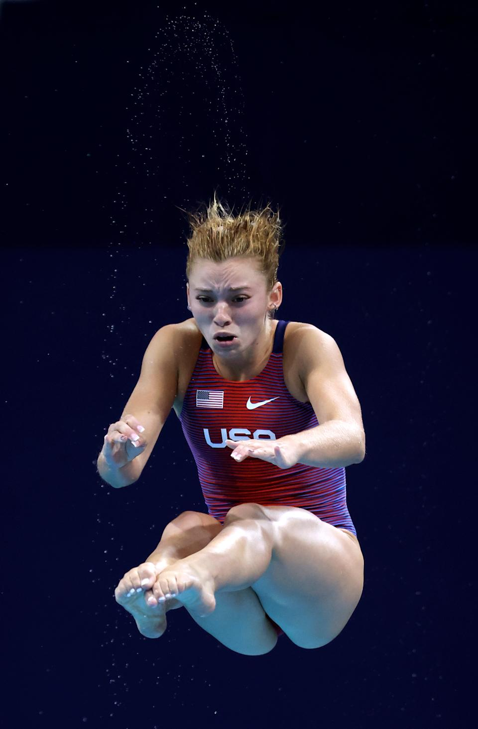 <p>TOKYO, JAPAN - AUGUST 01: Hailey Hernandez of Team United States competes in the Women's 3m Springboard Final on day nine of the Tokyo 2020 Olympic Games at Tokyo Aquatics Centre on August 01, 2021 in Tokyo, Japan. (Photo by Al Bello/Getty Images)</p>