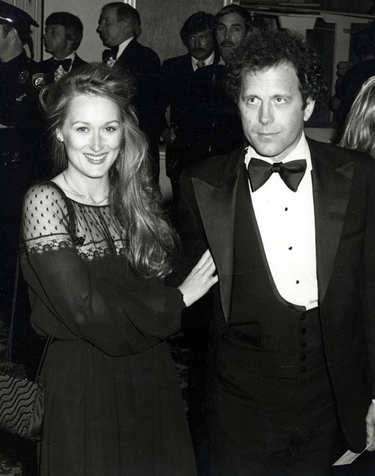 "<p>Meryl Streep at the 1979 Oscars</p><p>Baby's first Oscars! Here she is with husband Don Gummer in a black dress with <a rel=""nofollow"" href=""https://www.yahoo.com/style/sheer-magic-j-lo-kristen-c1421255013883.html"">see-through paneling</a> in 1979. She was nominated for her role as Linda in <a rel=""nofollow"" href=""http://www.imdb.com/title/tt0077416/?ref_=nmawd_awd_19""><i>The Deer Hunter.</i></a></p>"
