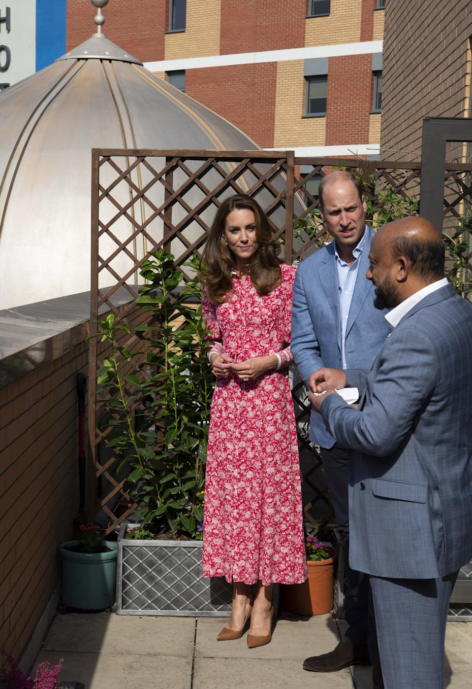 The Duke and Duchess of Cambridge during a visit to the East London Mosque where they chatted to volunteers who cooked and delivered meals to vulnerable members of the community during the pandemic.