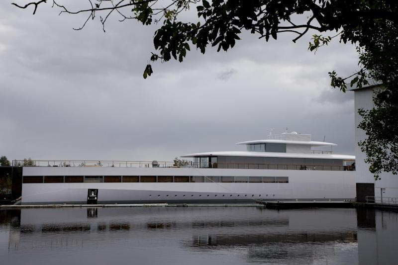 A yacht is docked at the wharf of ship building company Royal De Vries in Aalsmeer, near Amsterdam, Netherlands, Tuesday Oct. 30, 2012. Just over a year after the Apple founder died, the luxury motor yacht he commissioned and helped French product designer Philippe Starck make has finally slipped into an anonymous Dutch backwater. (AP Photo/Peter Dejong)
