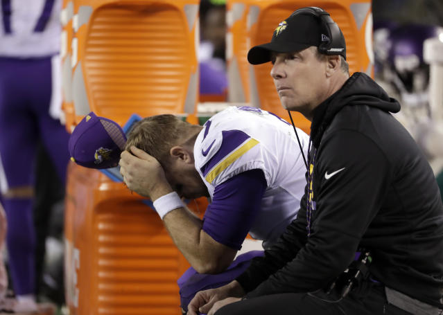 <p>Minnesota Vikings' Case Keenum reacts on the bench during the second half of the NFL football NFC championship game against the Philadelphia Eagles Sunday, Jan. 21, 2018, in Philadelphia. (AP Photo/Matt Slocum) </p>