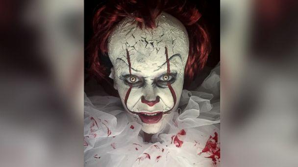 PHOTO: Makeup artist Gina Scheiber of California shares her Halloween makeup design on Instagram for Pennywise the clown from the 2017 horror film, 'It.' (ginascheibermakeup)