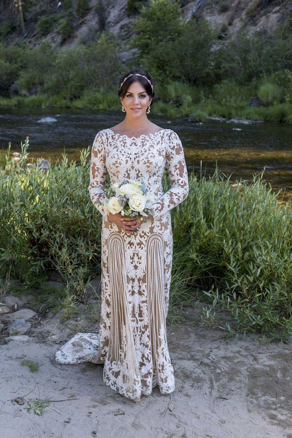 <p>Reality star Katie Maloney's relationship with Tom Schwartz had its ups and downs on <em>Vanderpump Rules, </em>but fans couldn't wait to watch them get married in season 5. Katie wore a unique boatneck, long-sleeve gown with sheer paneling and a beaded headband in lieu of a veil. </p>