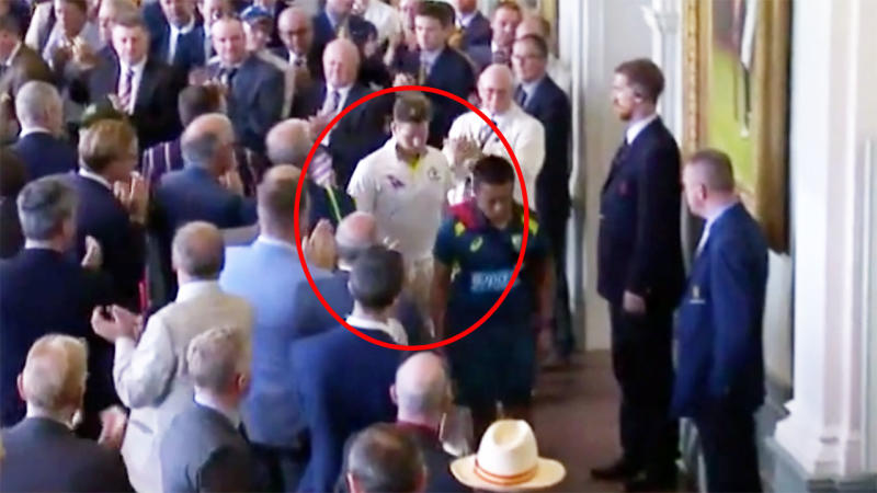 Steve Smith, pictured here walking through the Long Room at Lord's. Image: Channel Nine