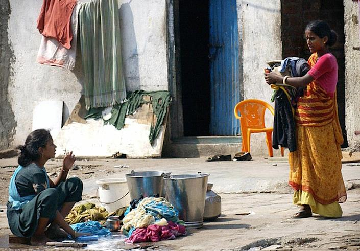 In most Indian homes, clothes are washed in buckets and hung out to dry in the sun