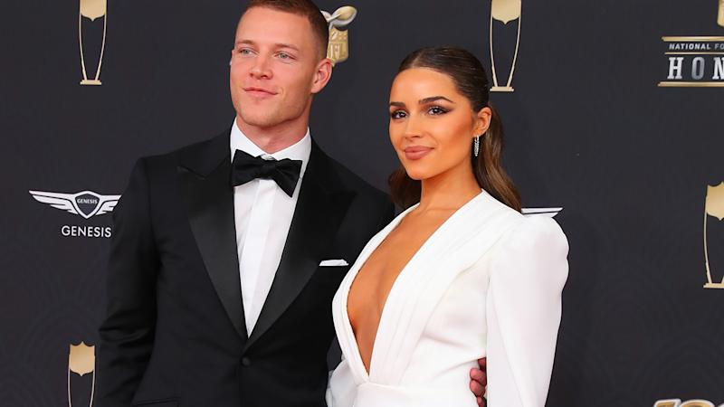 Christian McCaffrey and Olivia Culpo, pictured here at the NFL Honours night in February.