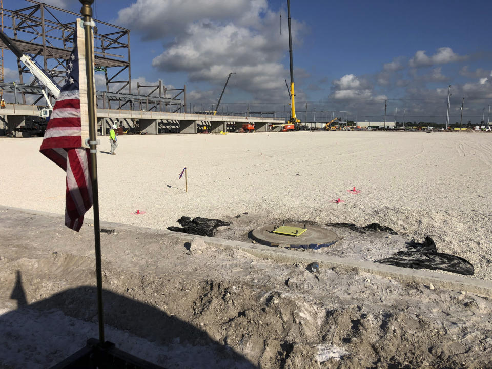 This Monday, Oct. 21, 2019, photo shows the graded dirt surface where sod will be placed in November inside what will be the stadium for David Beckham's Inter Miami MLS soccer team that opens its inaugural season in 2020 at the site of the former Lockhart Stadium in Fort Lauderdale, Fla. (AP Photo/Tim Reynolds)