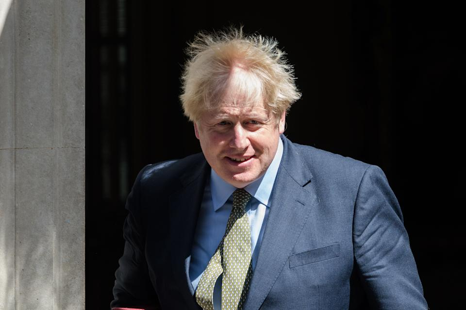 British Prime Minister Boris Johnson leaves 10 Downing Street for PMQs at the House of Commons on 22 July, 2020 in London, England. (Photo by WIktor Szymanowicz/NurPhoto via Getty Images)