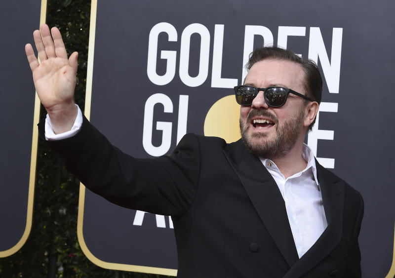 Ricky Gervais arrives at the 77th annual Golden Globe Awards at the Beverly Hilton Hotel on Sunday, Jan. 5, 2020, in Beverly Hills, Calif. (Photo by Jordan Strauss/Invision/AP)