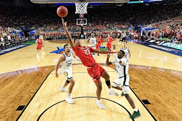 The semifinal game in the NCAA Men's Final Four at U.S. Bank Stadium on April 06, 2019 in Minneapolis, Minnesota. (Photo by Brett Wilhelm/NCAA Photos via Getty Images)