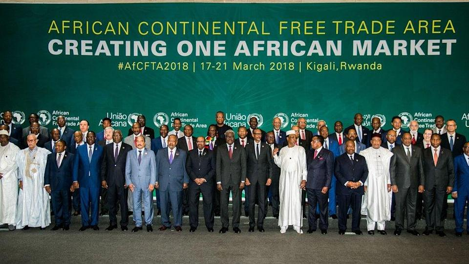 The African Heads of States and Governments pose during African Union (AU) Summit for the agreement to establish the African Continental Free Trade Area in Kigali, Rwanda, on March 21, 2018. /