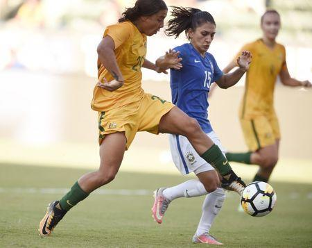 Aug 3, 2017; Carson, CA, USA; Australia forward Sam Kerr (20) attempts a shot for a goal defended by Brazil defender Leticia (15) during the second half at StubHub Center. Mandatory Credit: Kelvin Kuo-USA TODAY Sports