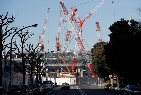 The construction site of the New National Stadium, main stadium of Tokyo 2020 Olympics and Paralympics, is seen in Tokyo, Japan