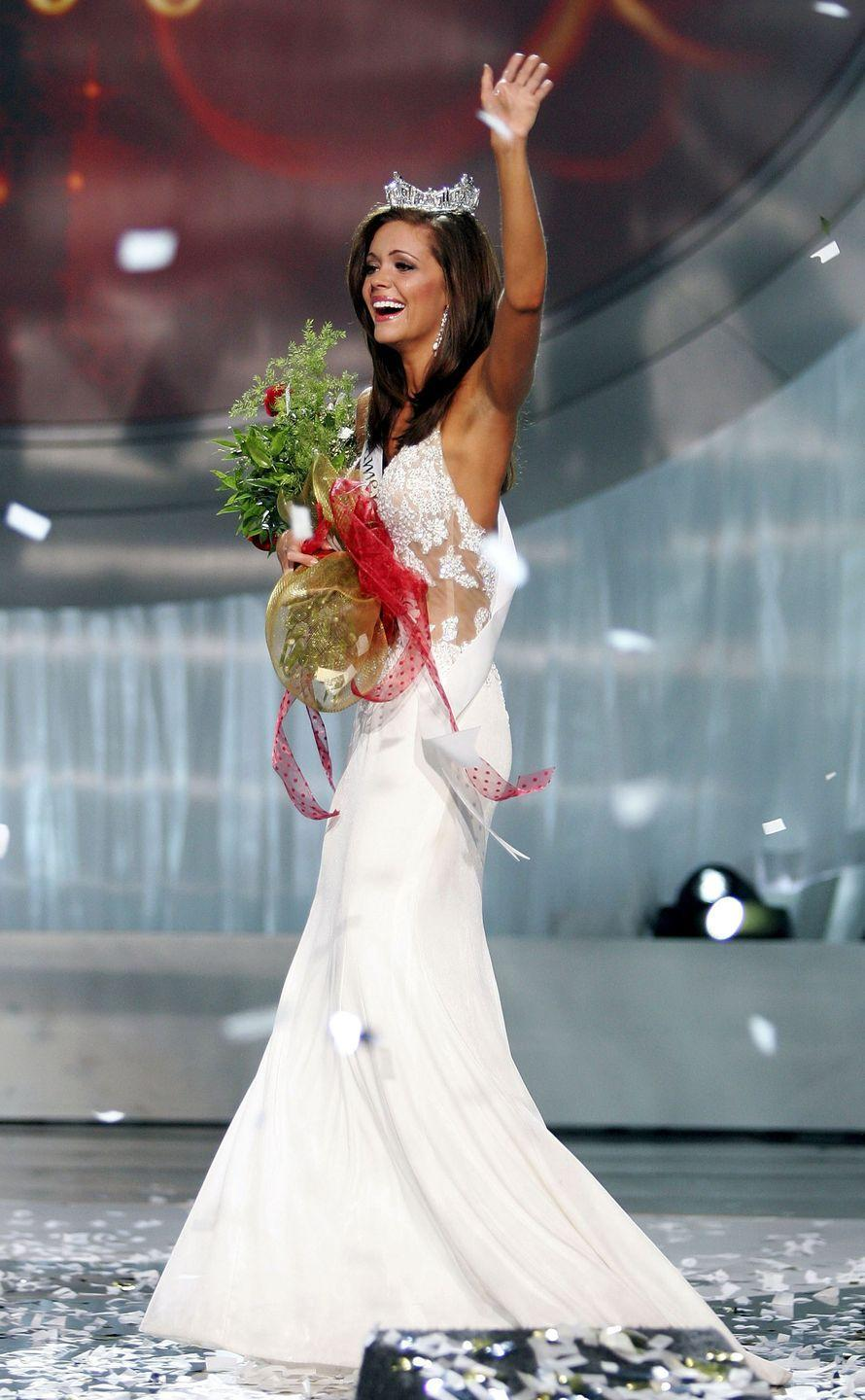 <p>Oklahoma's Jennifer Berry showed some skin at the competition when she wore a sheer bodice gown. </p>