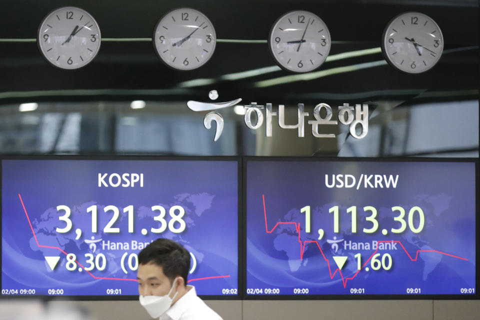 An employee of a bank walks by screens showing the Korea Composite Stock Price Index (KOSPI), left, and the foreign exchange rate between U.S. dollar and South Korean won at the foreign exchange dealing room in Seoul, South Korea, Thursday, Feb. 4, 2021. Asian shares mostly fell Thursday as caution set in over company earnings reports, recent choppy trading in technology stocks and prospects for more economic stimulus for a world battling a pandemic. (AP Photo/Lee Jin-man)