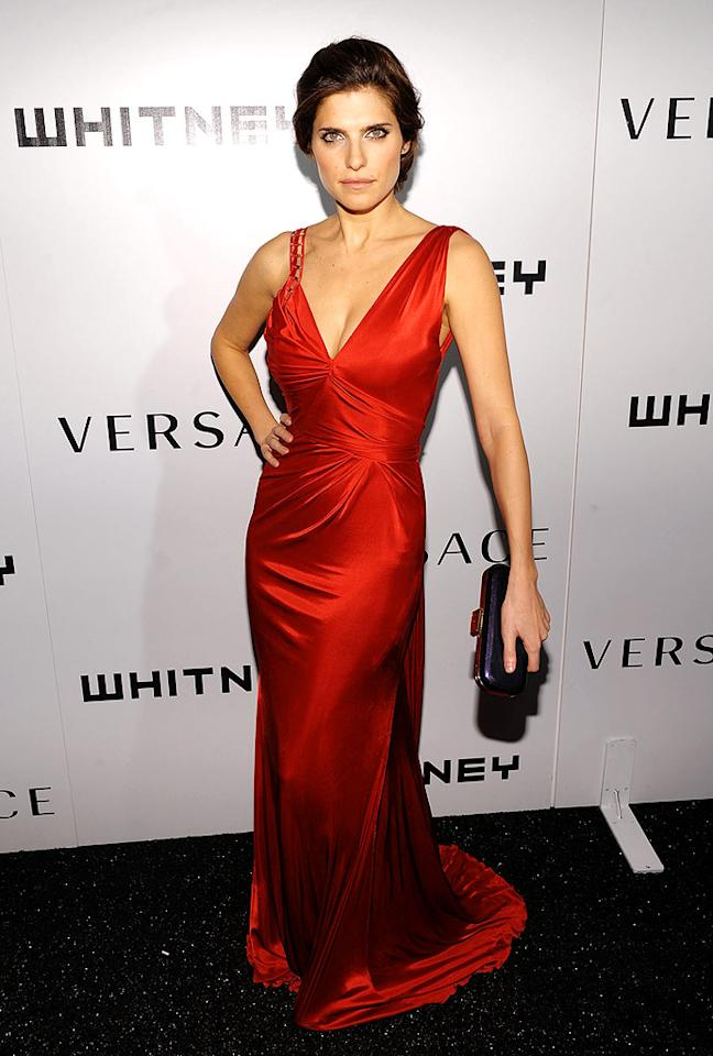 """Actress Lake Bell struck a fierce pose in a red Versace gown. Dimitrios Kambouris/<a href=""""http://www.wireimage.com"""" target=""""new"""">WireImage.com</a> - October 19, 2009"""