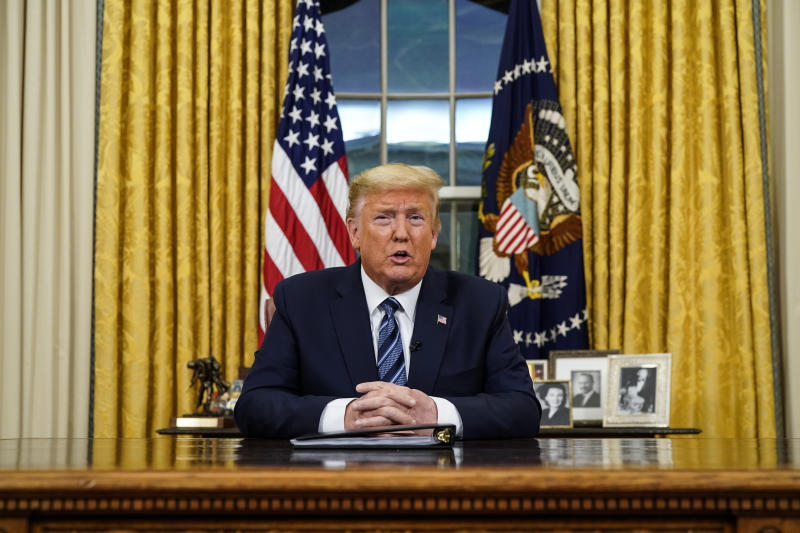 WASHINGTON, DC - MARCH 11: US President Donald Trump addresses the nation from the Oval Office about the widening coronavirus crisis on March 11, 2020 in Washington, DC. President Trump said the US will suspend all travel from Europe for the next 30 days. Since December 2019, coronavirus (COVID-19) has infected more than 109,000 people and killed more than 3,800 people in 105 countries. (Photo by Doug Mills-Pool/Getty Images)