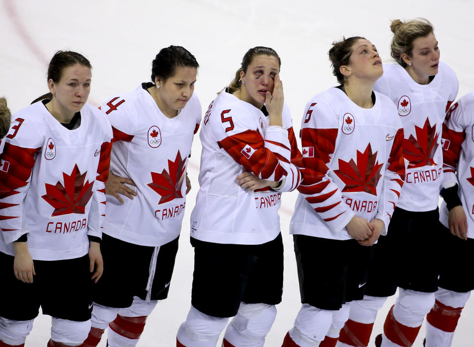 <p>Lauriane Rougeau of Canada and teammates are dejected following the Women's Ice Hockey Gold Medal game final between USA and Canada on day 13 of the PyeongChang 2018 Winter Olympic Games on February 22, 2018.<br> (Photo by Jean Catuffe/Getty Images) </p>