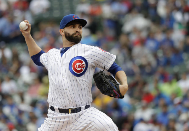Chicago Cubs starting pitcher Tyler Chatwood delivers during the first inning of a baseball game against the Chicago Cubs Saturday, July 21, 2018, in Chicago. (AP Photo/Charles Rex Arbogast)