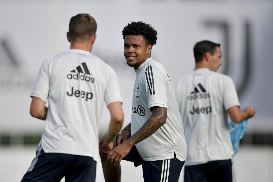Weston McKennie (middle) has his sights set on a starting job with Juventus this season. (Daniele Badolato/Getty Images)