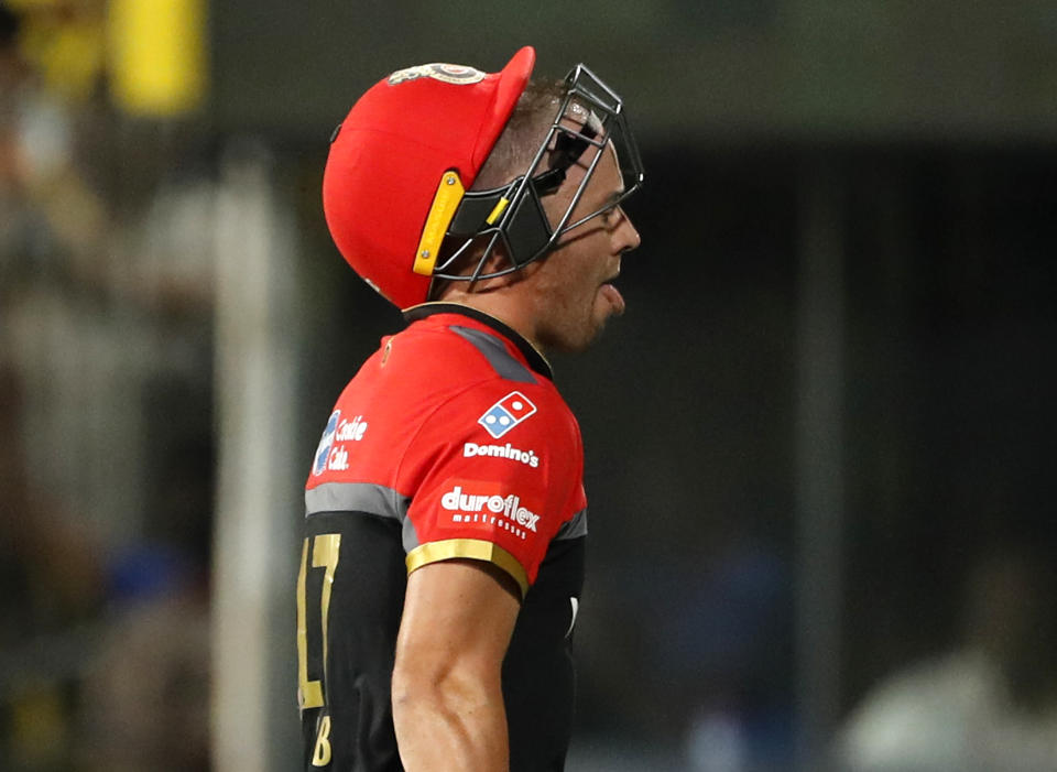 Royal Challengers Bangalore's AB de Villiers reacts as he leaves the field after being dismissed during the VIVO IPL T20 cricket match between Chennai Super Kings and Royal Challengers Bangalore in Chennai, India, Saturday, March 23, 2019. (AP Photo/Aijaz Rahi)