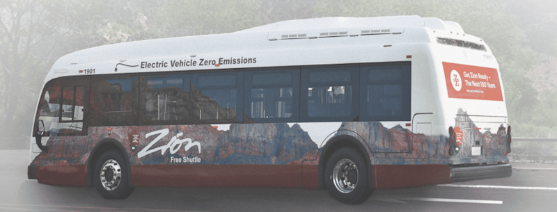 A mock up of the electric shuttles that advocates and officials are hoping will replace the current propane shuttles.