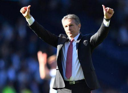 Southampton manager Claude Puel celebrates after the match