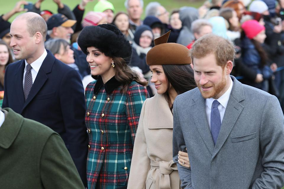 William, Kate, Meghan and Harry last Christmas (Photo: Getty)